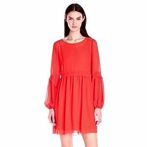 Erin Fetherston Orange Bell Long Sleeve Dress